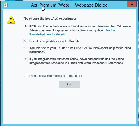 Act! for Web v18 Webpage Dialog Opstartvenster IE