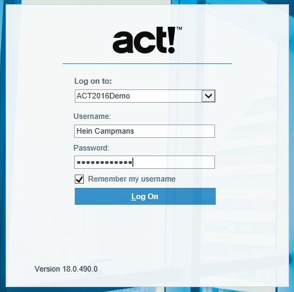Act! for Web aanlogvenster Internet Explorer