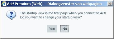 Act! for Web v18 Startup dialoog venster